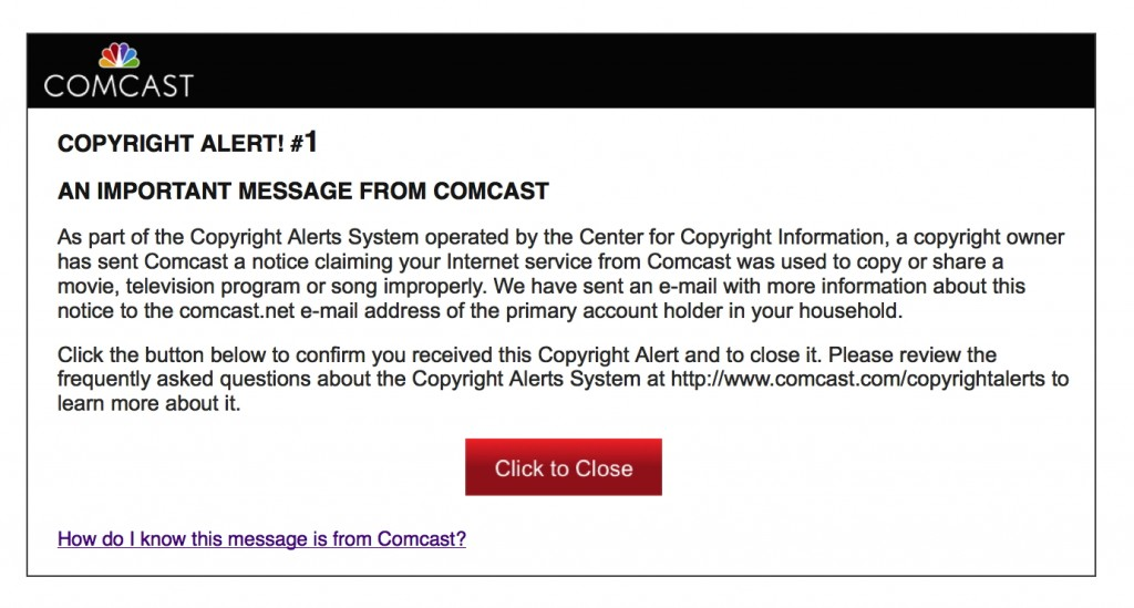 Copyright Alert System message as part of the Six Strikes plan