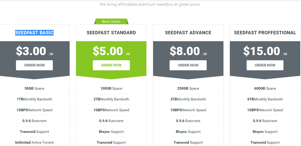 Screenshot of  SEEDFAST STANDARD