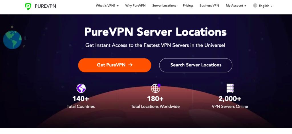 Pure VPN landing page